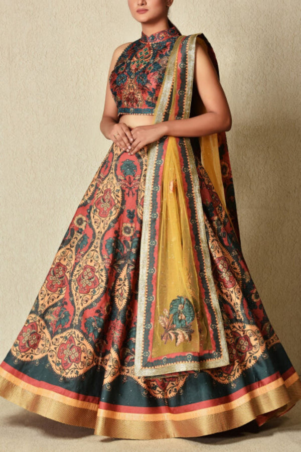 Multicolor Printed and Embroidered Lehenga set