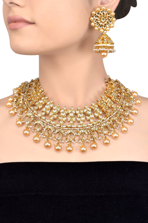 Silver Gold Plated Leafy Crystal Studded Pearl Necklace Set