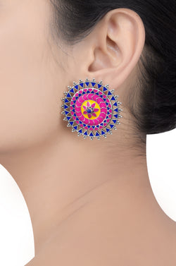 Rangoli Rawa Enameled Ring Tribal Pop Ear Studs