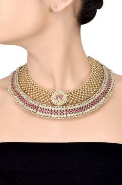 Silver Gold Plated Crystal Studded Interlinked Pear Rhomb Floral Necklace