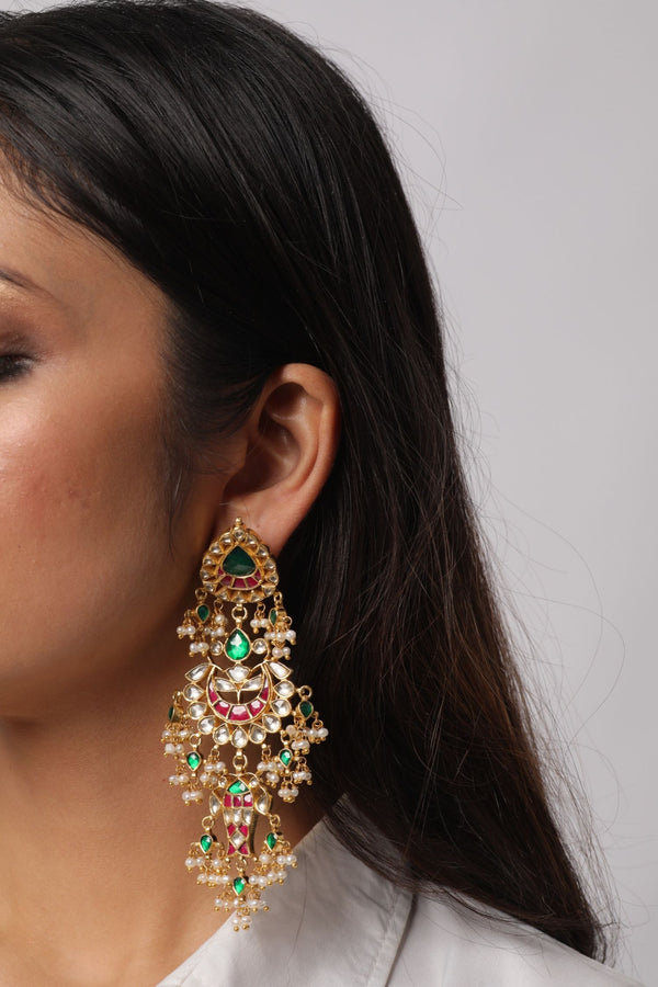 Silver Gold Plated Colored Stone Earrings