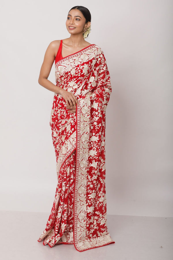 Red Hand Embroidered Gara Parsi Saree