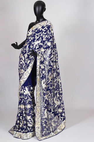 Blue All Over Gara Parsi Saree