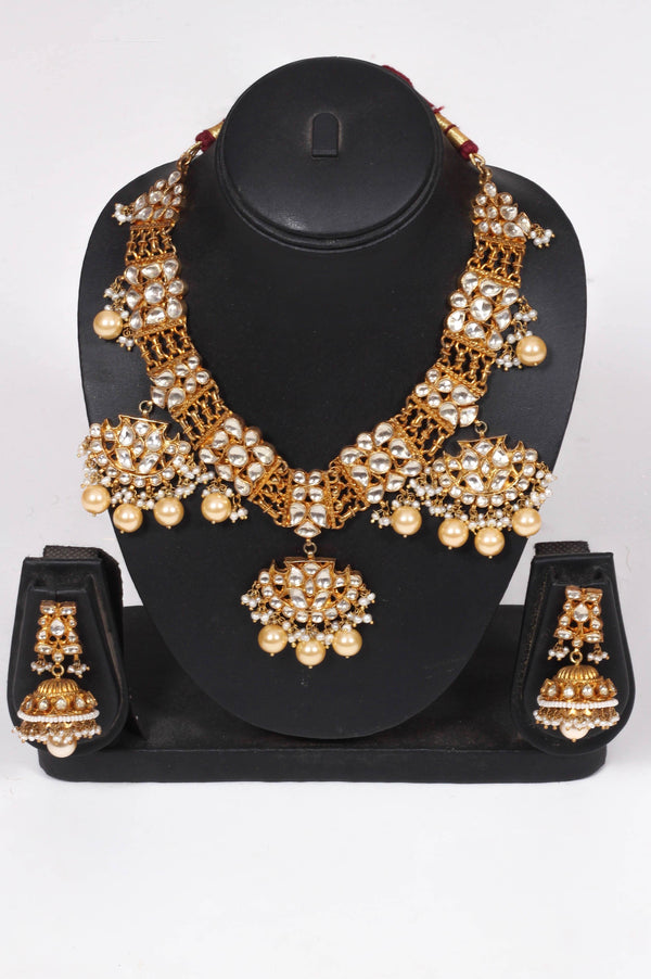 Amrapali Silver Gold Plated Crystal  Necklace With Pearl Drops