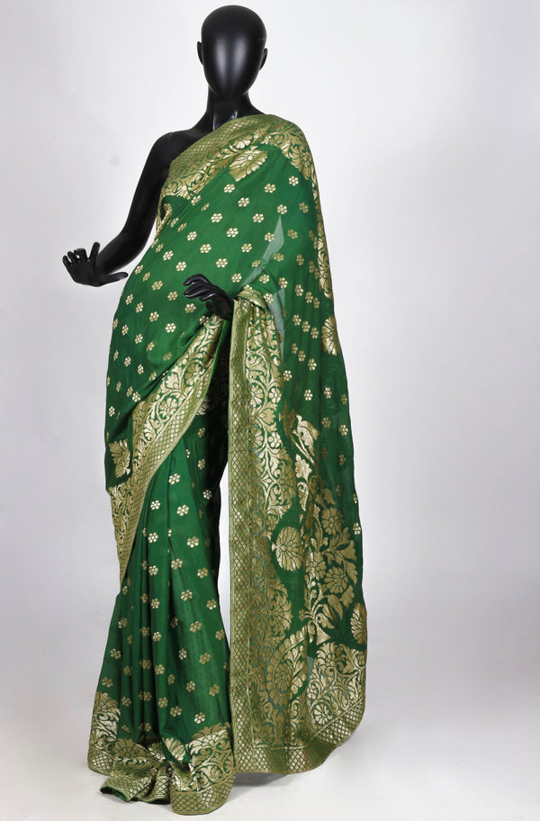 Green Muga silk benarasi saree