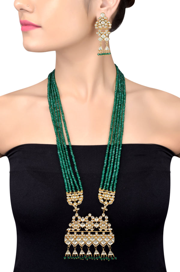 Silver Gold Plated Floral Rhomb Crystal Glass Tassel Necklace Set