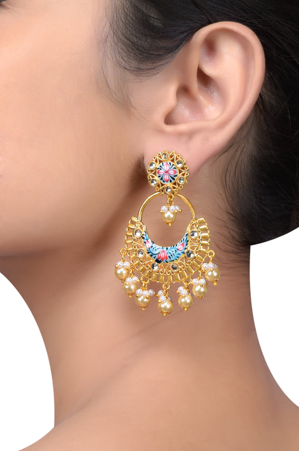 Gold Plated Sea Green Floral Pearl Drop Earrings