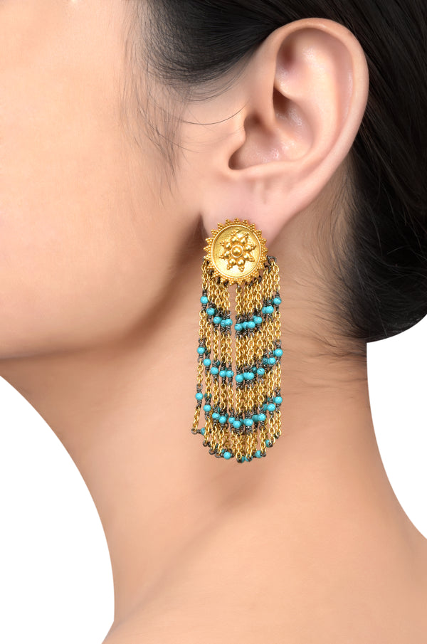 Silver Gold Plated Round Rawa Hanging Turquoise Earrings