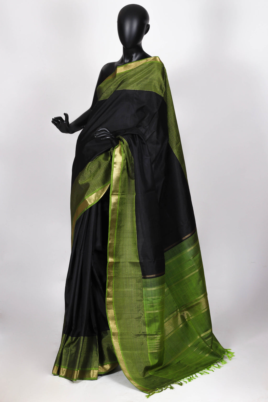 Black and green kanjiveram silk saree