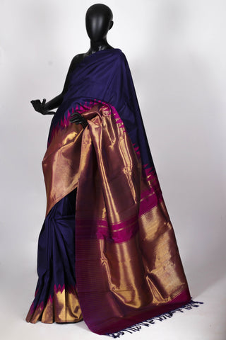 Blue and gold kanjiveram silk saree