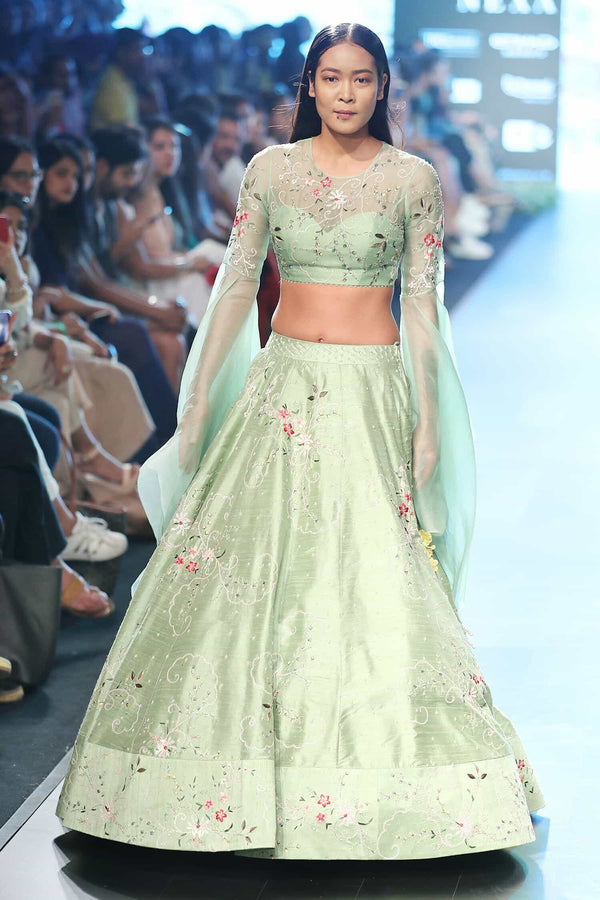 Apple green raw silk lehenga set