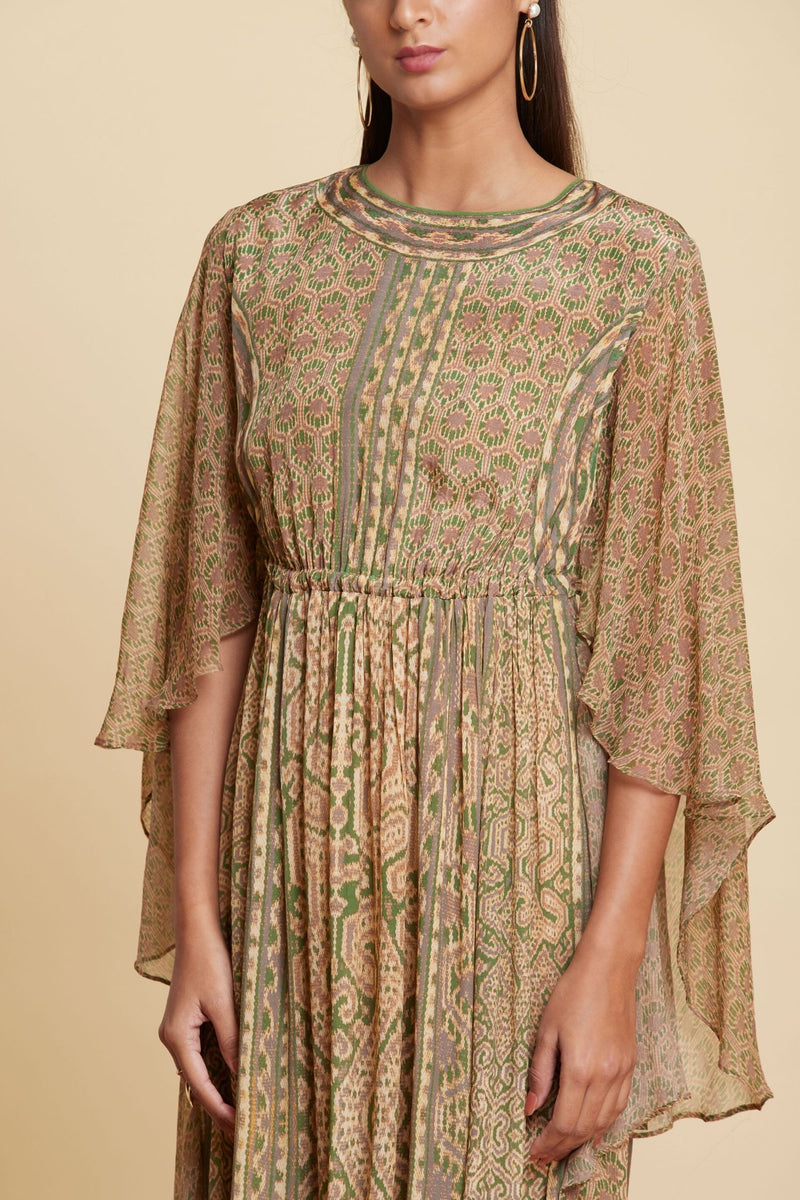 Beige and Green Abstract Printed Short Dress