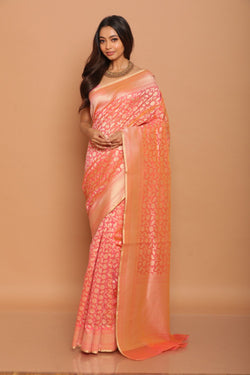 Orange Cotton Benarasi Saree