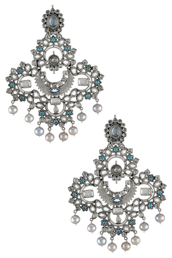 Silver Oxidised White Blue Glass Pearl Atulya Earrings
