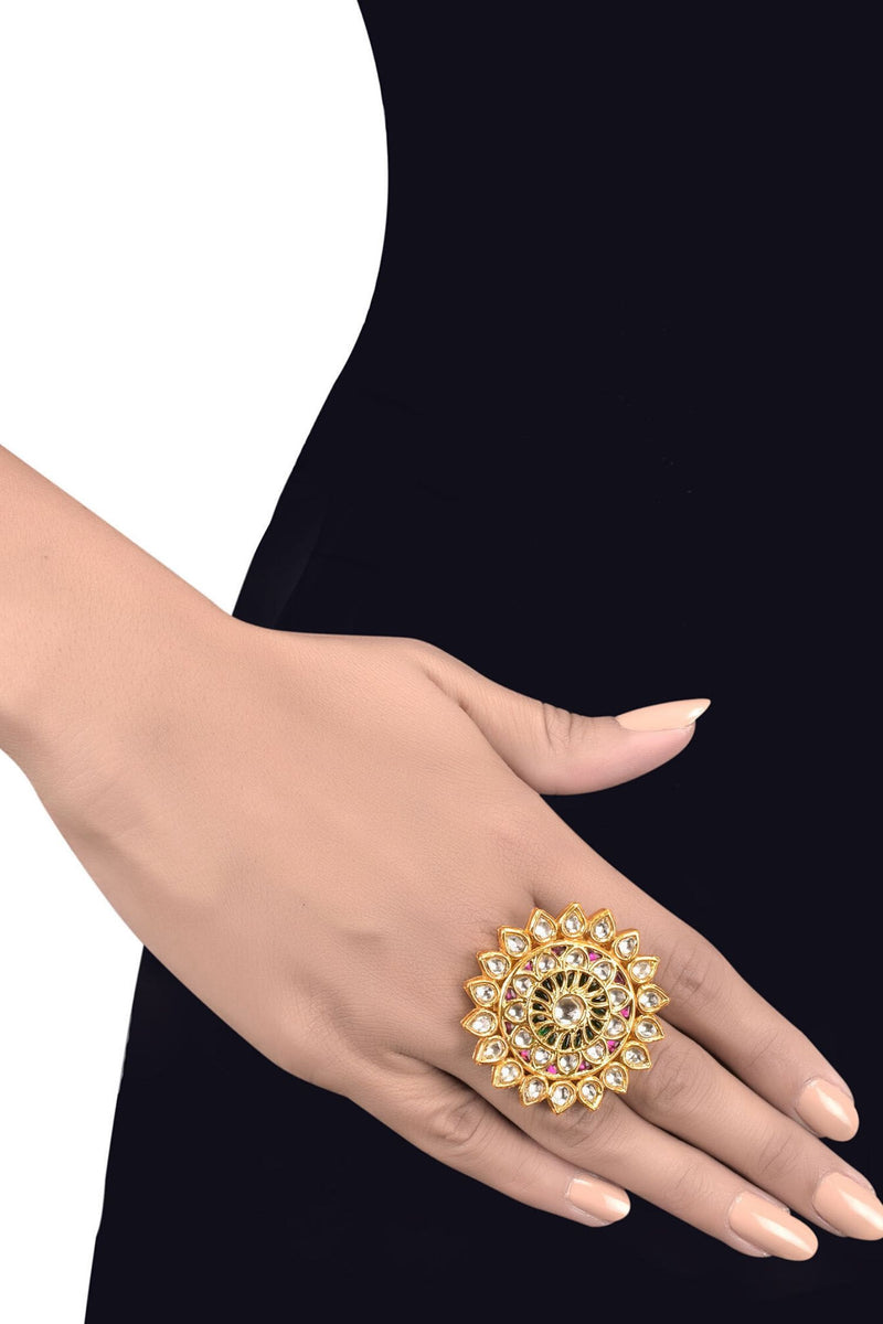 Silver Gold Plated Multi Crystal Floral Ring