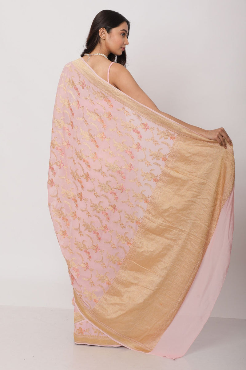 Blush pink Benarasi Georgette Saree