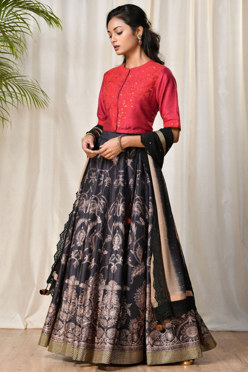 Black & Red Embroidered Lehenga With Dupatta