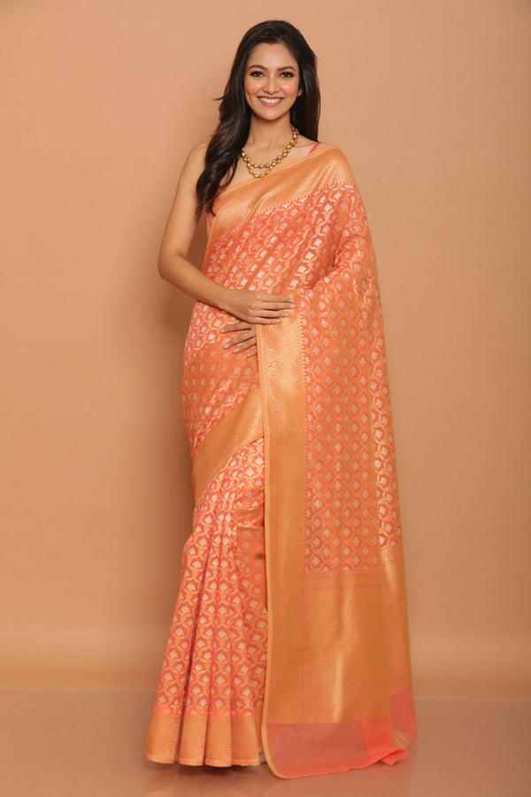 Peach Cotton Benarasi Saree