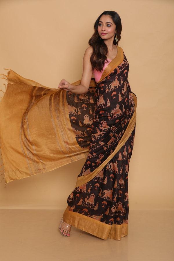 Black Printed Tussar Saree