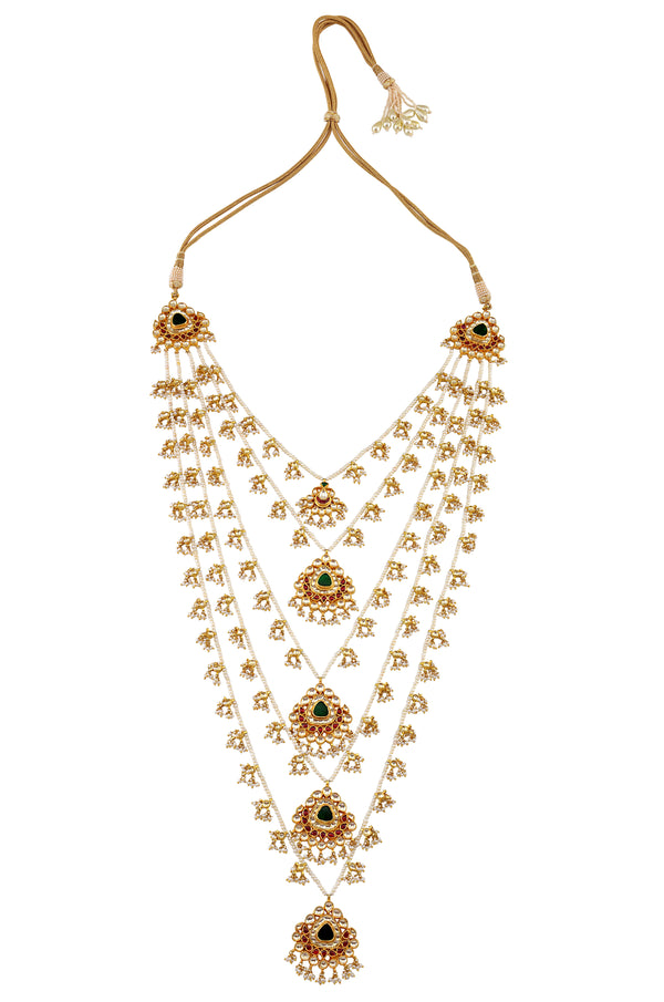 Silver Gold Plated Crystal Pearl Lotus Paanchlada Necklace