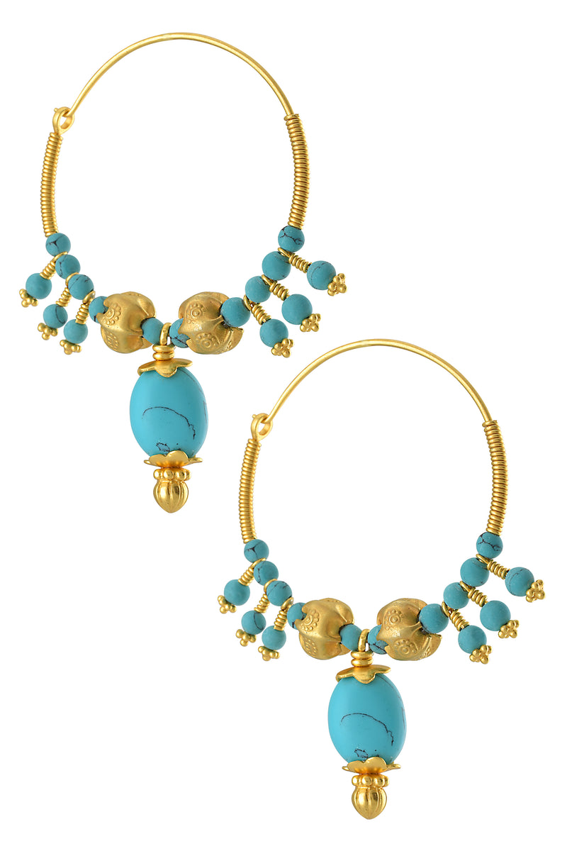 SILVER GOLD PLATED FLORAL BEAD TURQUOISE LOOP EARRINGS