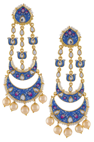 Gold Plated Blue White Enamelled Lotus Pearl Moon Earrings