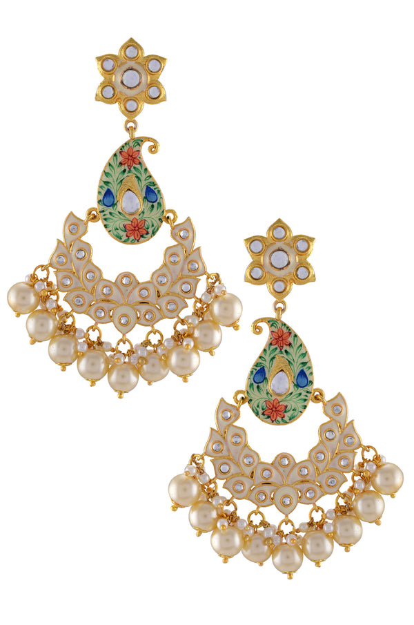 Gold Plated Paisley Pearl Earrings