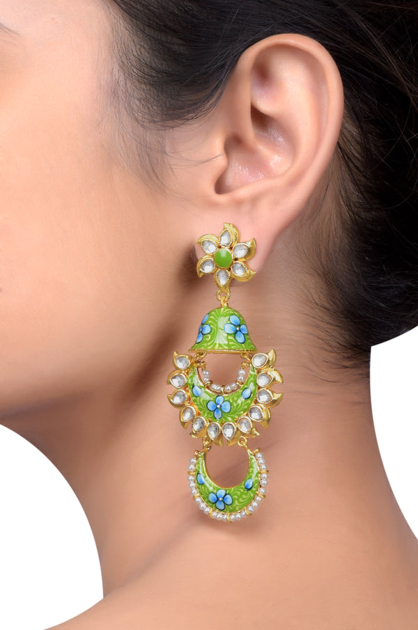 Gold Plated Green Blue Floral Jhumki Glass Earrings