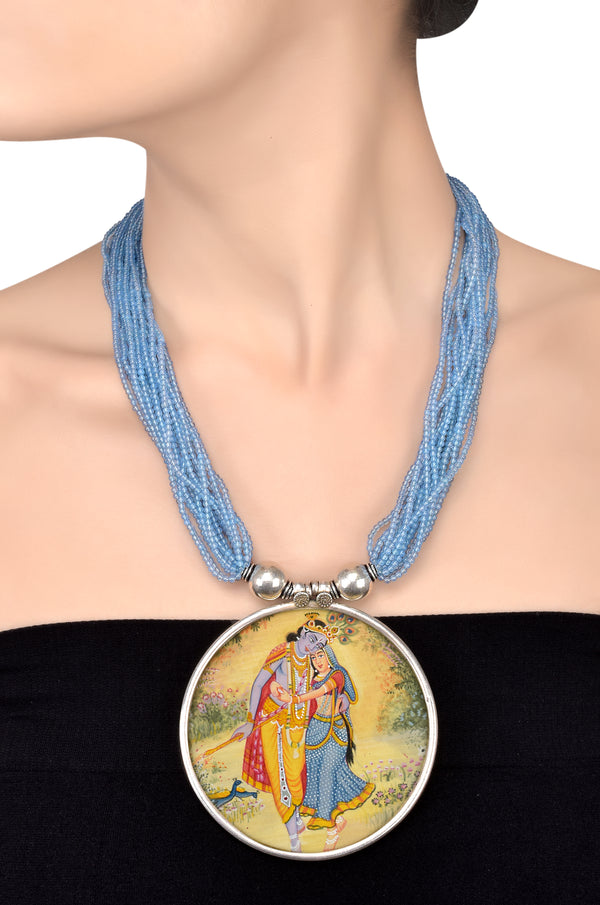 Radha-Krishna Hand Painted Silver Necklace