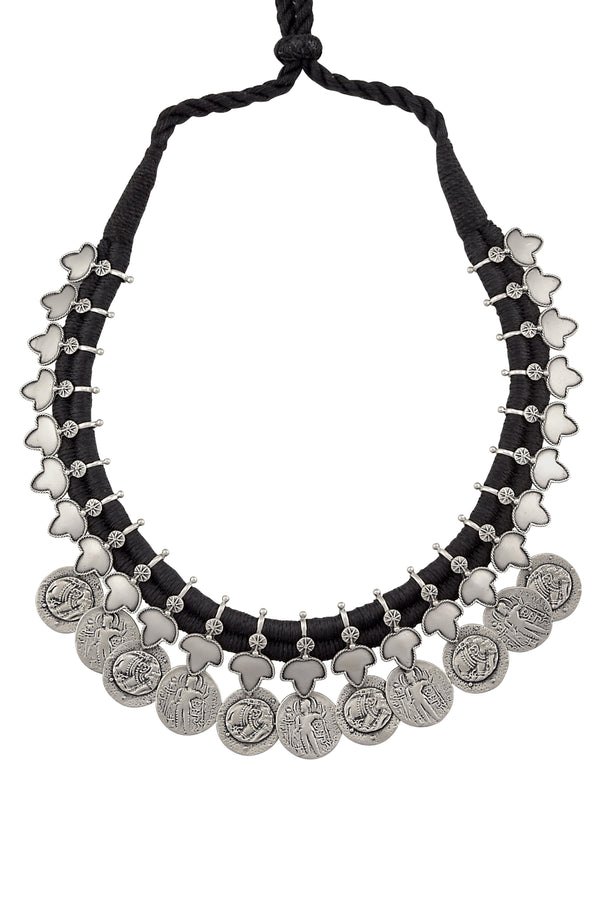 Silver Oxidised Lotus Coin Thread Necklace