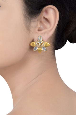 Silver Gold Plated White Glass Leafy Ear Studs