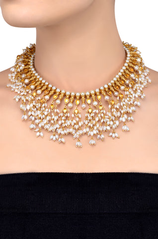 Silver Gold Plated Pear Citrine Pearl Cluster Necklace