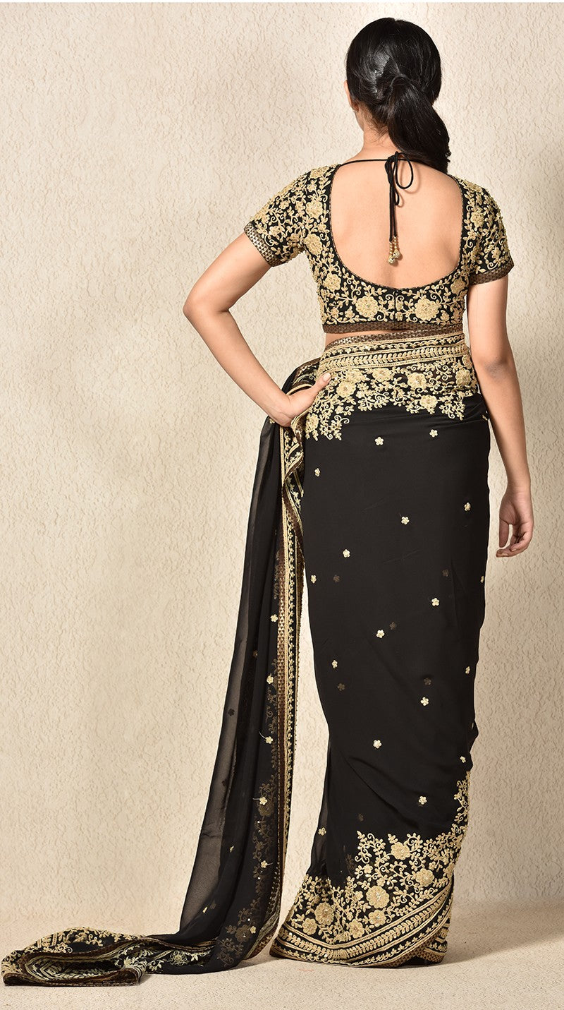 Black Embroidered Saree With Stitched Blouse