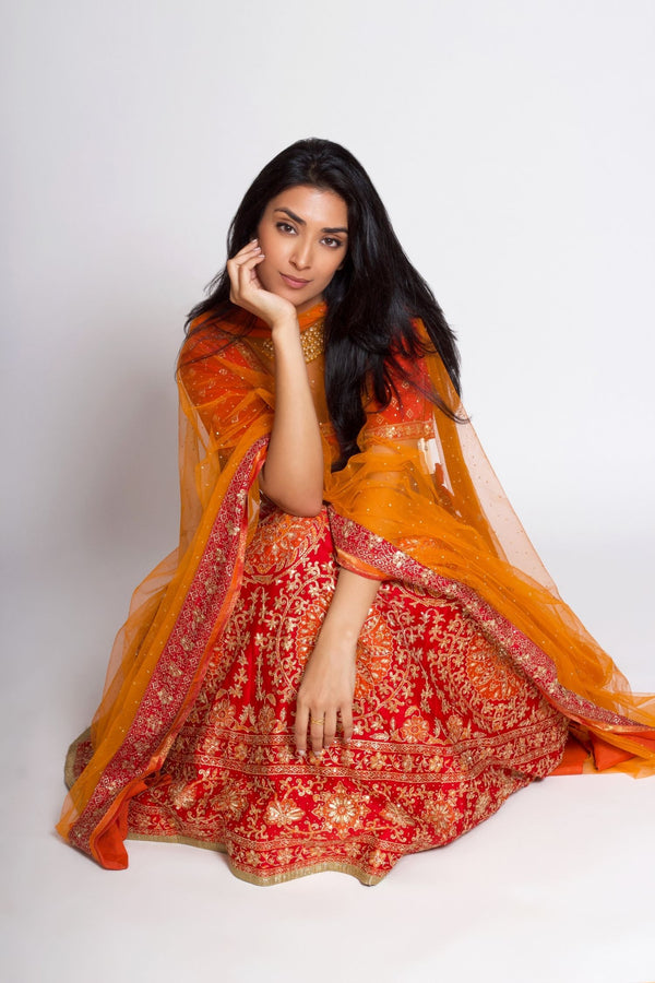Red & Orange Embroidered Lehenga With Dupatta