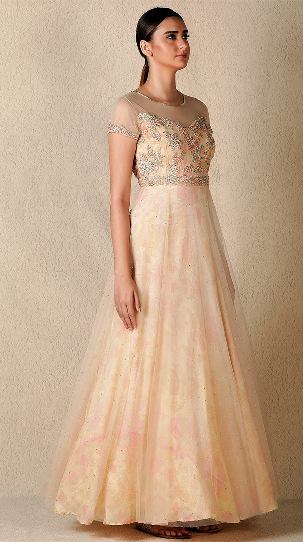 Peach & Gold Embroidered Gown