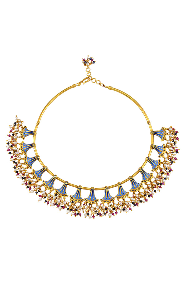Silver Gold Plated Enamelled Multi Fan Pearl Glass Drop Necklace