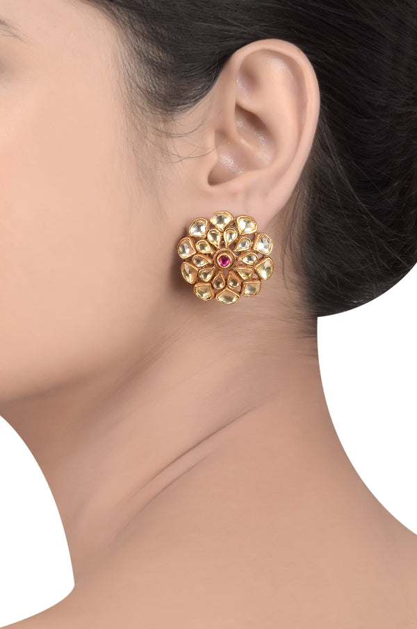 SILVER GOLD PLATED FLORAL GLASS EAR STUDS