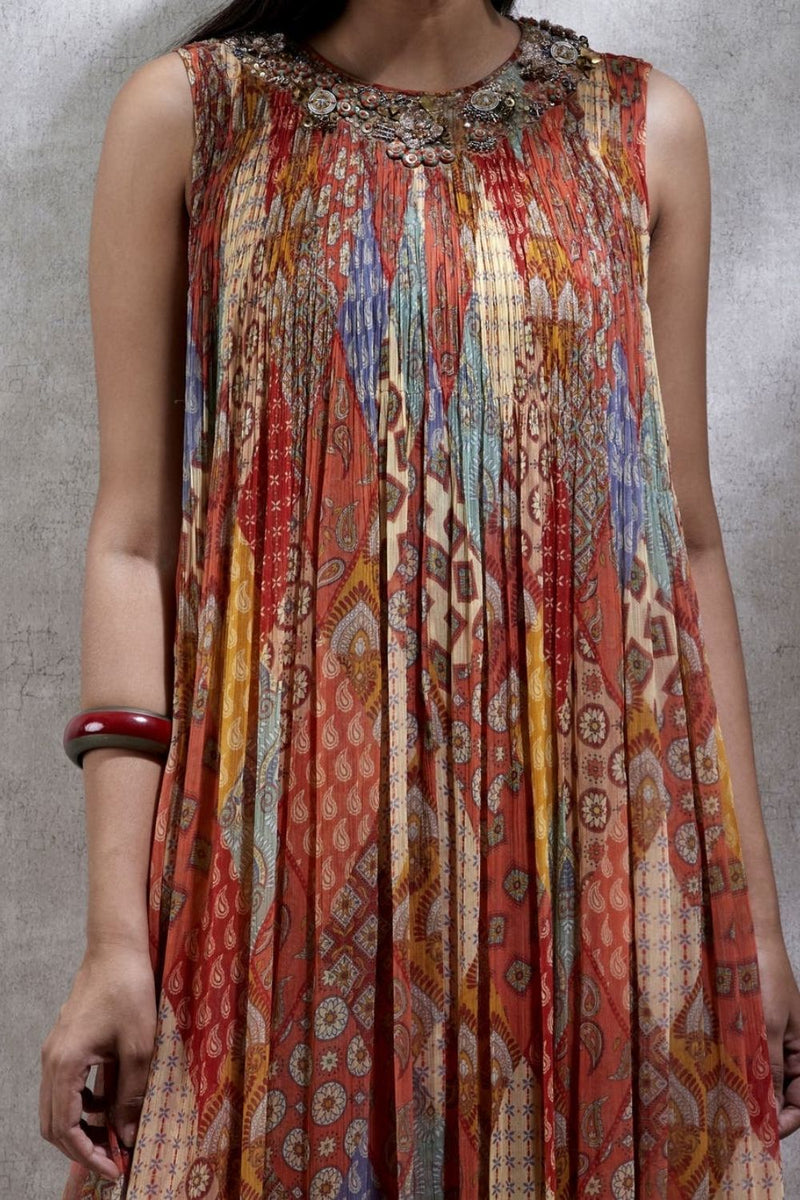 Brick Red Printed Kurta Dress