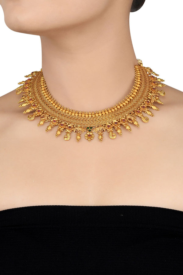 Silver Gold Plated Weaved Traditional Choker