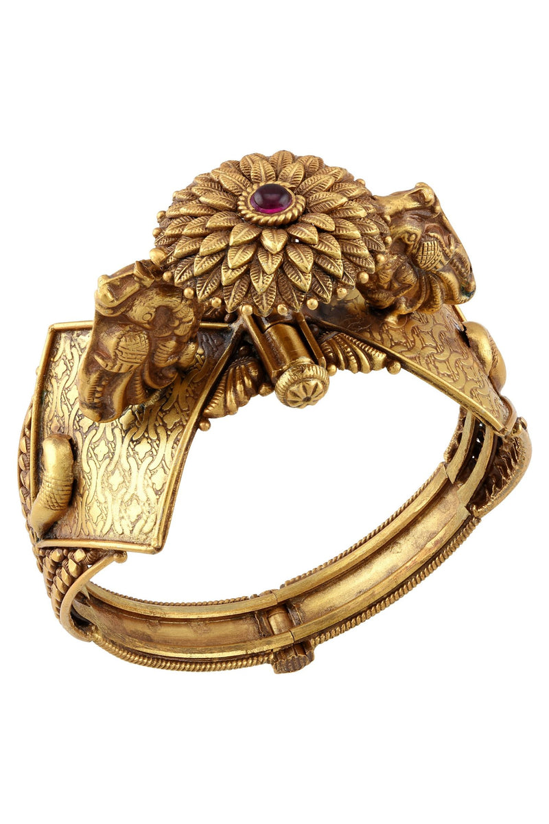 Silver Gold Plated Flower Peacock Kada