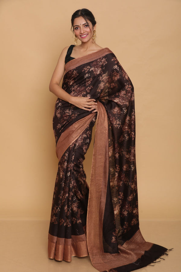 Brown Printed Tussar Saree