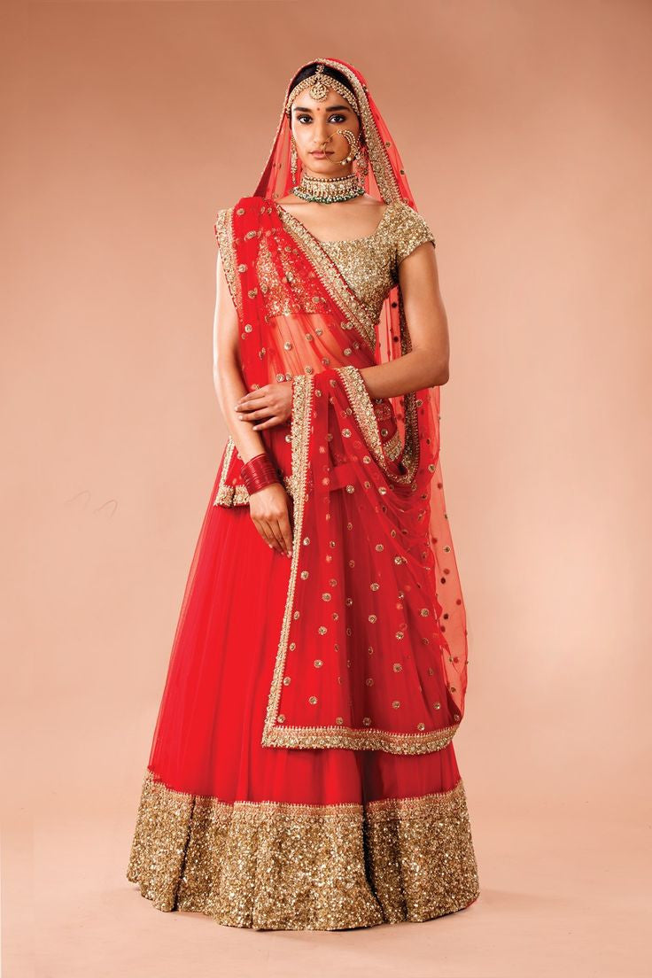 Red Net Lehenga with gold border