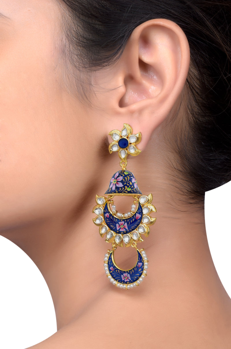 Gold Plated Blue Pink Floral Jhumki Glass Earrings