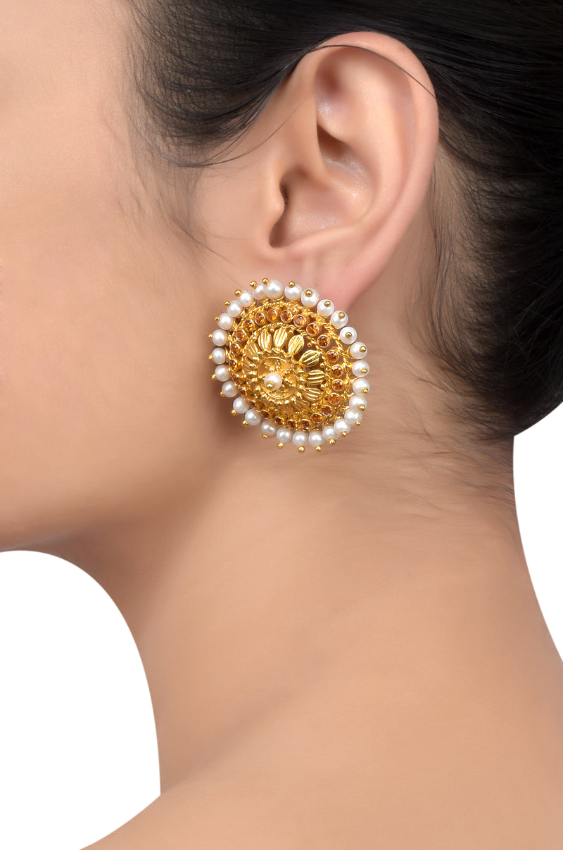 Silver Gold Plated Pearl Citrine Chakra Earrings