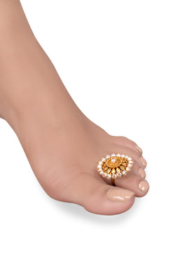 Silver Gold Plated Chakra Pearl Toe Ring