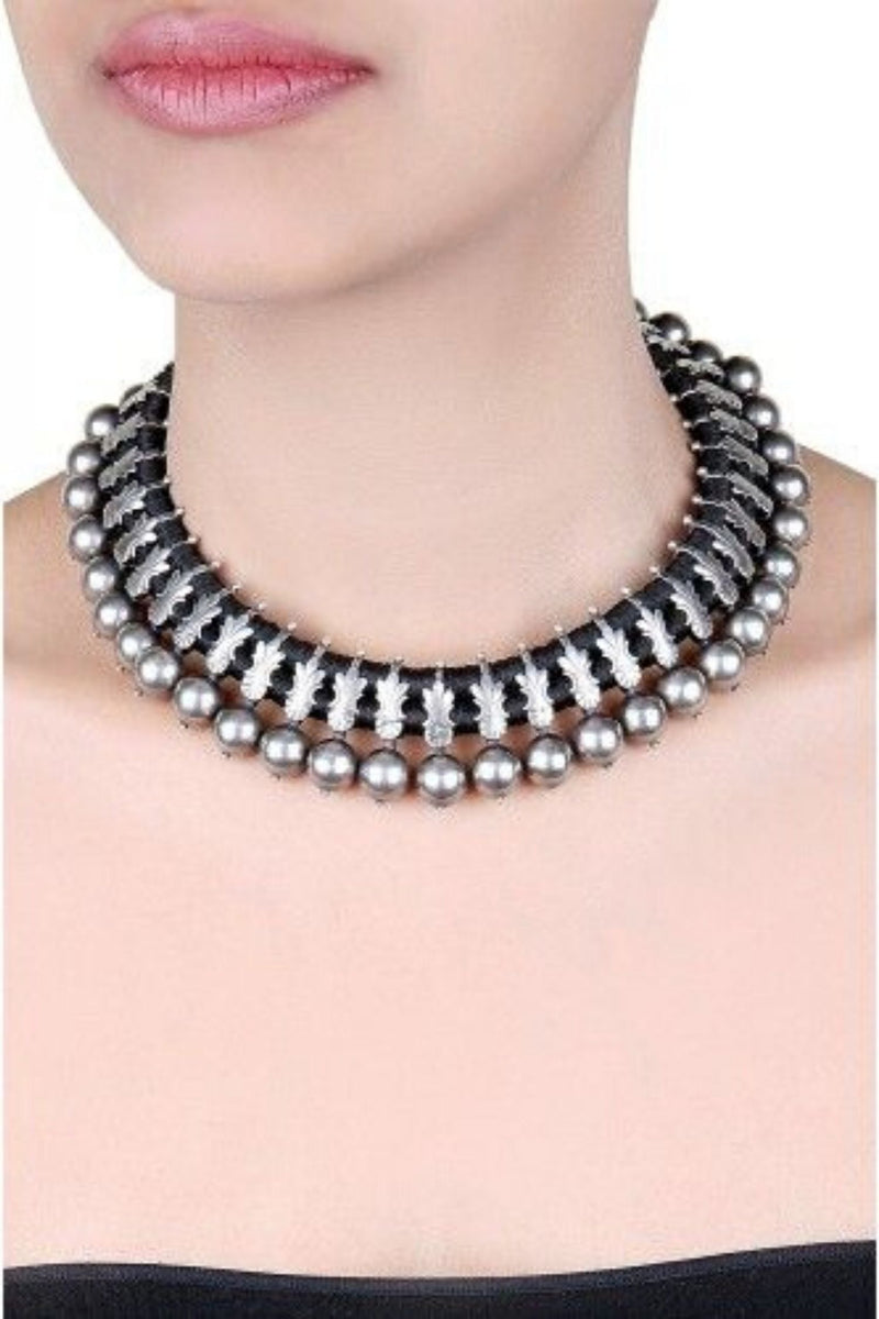 Silver Black Thread Kerala Necklace