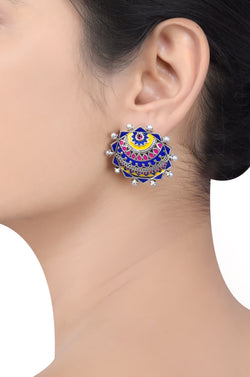 Decagon Enamel Pearl Tribal Pop Ear Stud