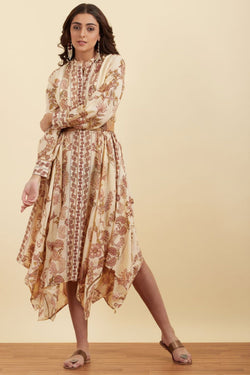 Beige Printed Asymmetric Kurta With Belt