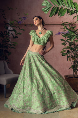Ruffle Blouse With Embroidered Lehenga