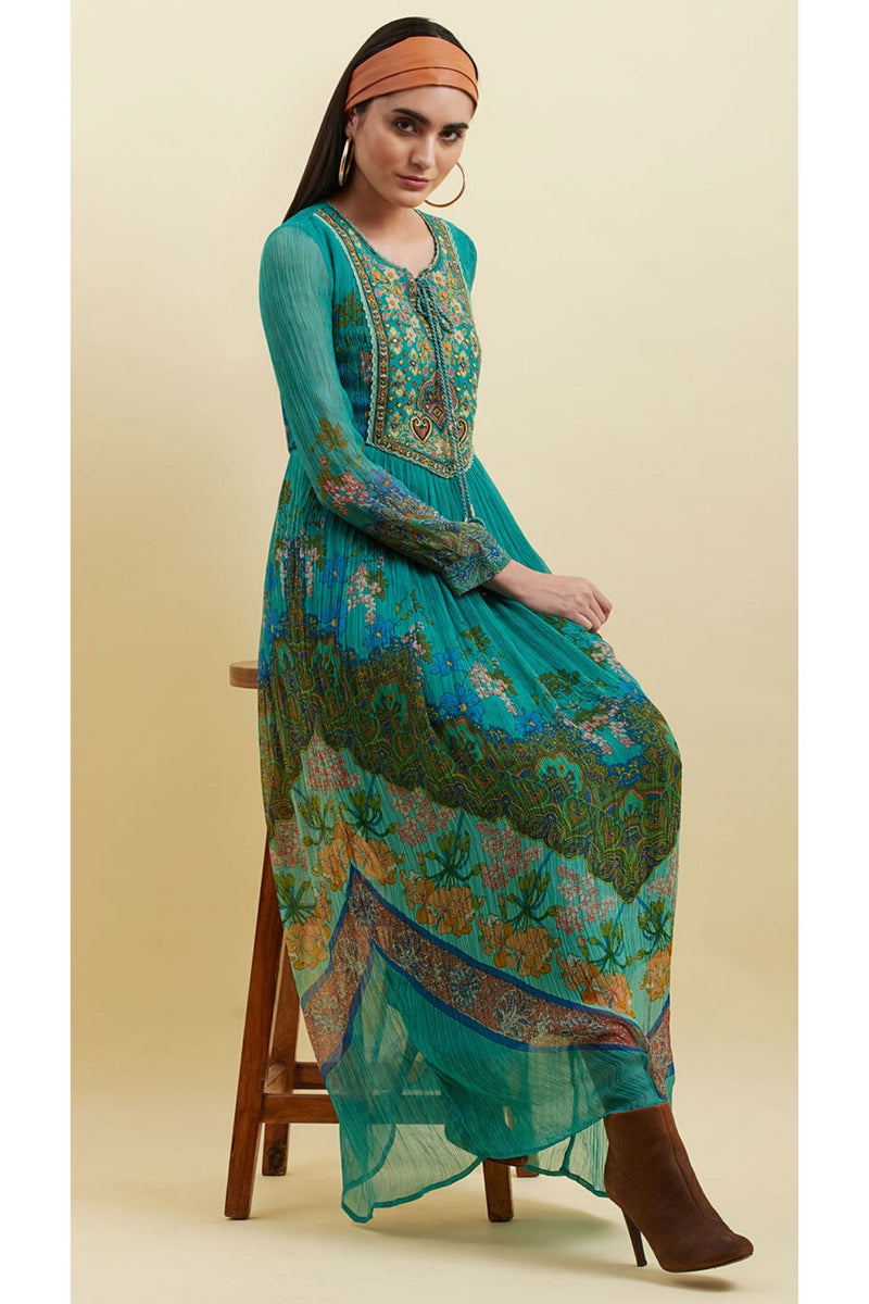 Turquoise Printed Maxi Dress